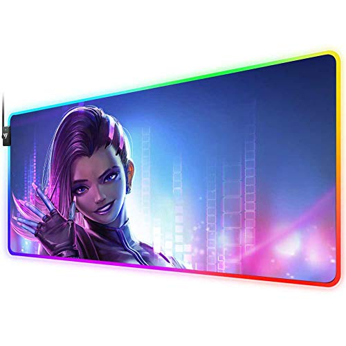 Overwatch RGB Gaming Mouse Pad,LED Soft Extra Extended Large Mouse Pad,Anti-Slip Rubber Base,Computer Keyboard Mouse Mat 31.5x12x0.16 Inch(Sombra)