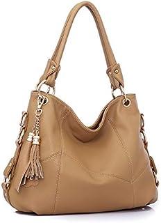Tassels Woman Package Single Shoulder Span Portable Genuine Leather Split Joint Ma'am Bag Leisure Handbag (Color : Khaki)