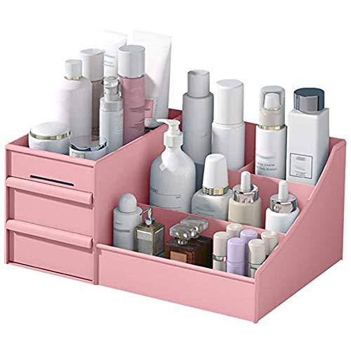 Wilany Organizador de maquillaje, caja de almacenamiento de cosméticos, gran capacidad, adecuado para diferentes tamaños de cosméticos, color blanco