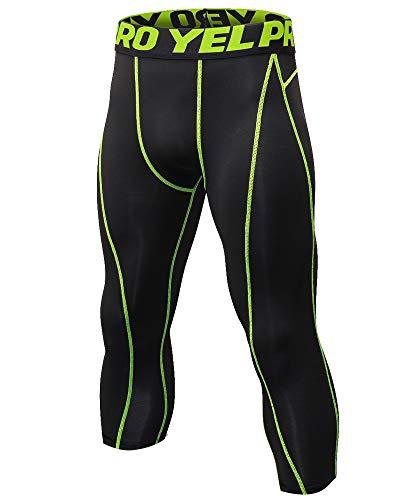 CHEN 3 4 Leggings Hombre Secado Rápido Mallas Running Deporte Pantalones de Compresión Negro Verde L