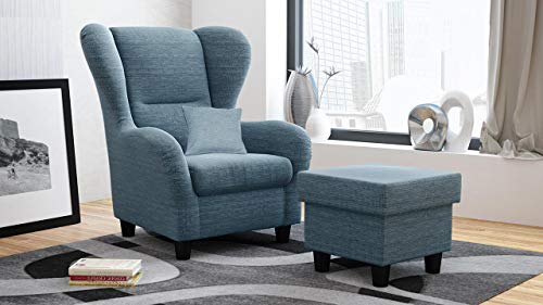lifestyle4living Ohrensessel mit Hocker in Blau im Landhausstil | Der perfekte Sessel für entspannte, Lange Fernseh- und Leseabende. Abschalten und genießen!