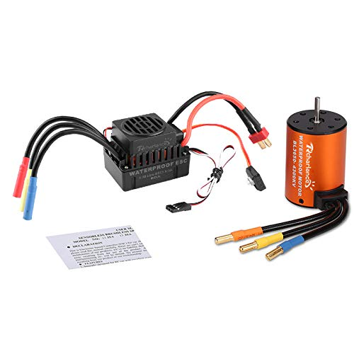 Crazepony-UK 3930KV 10T Sensorless Brushless Motor 4 Poles and 60A ESC Electronic Speed Controller Waterproof for 1//10 RC Car Truck Running Off-Road Car
