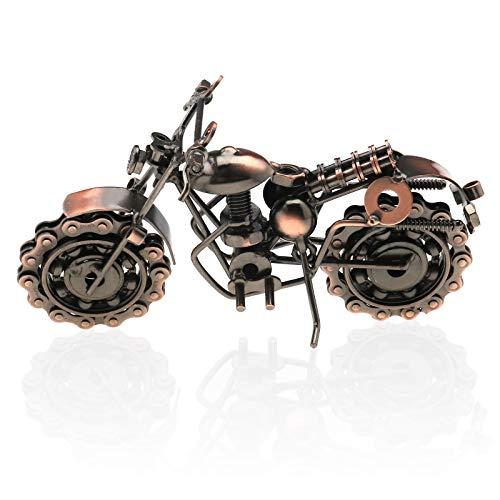 Create idea Retro Vintage Metal Motocicleta Moto Tono Bronce Hecho Hecho A Mano Modelo Metal Plato Ornamento Esculturas Arte Coleccionables Regalo