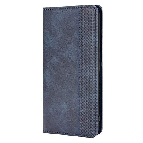 XINNI Cover Protettiva per ASUS Zenfone 8 Case, retrò Cellulare Custodia Libro Antiurto in Flip Pelle PU/TPU, Portafoglio Flip Magnetica, Blu