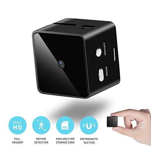Mini Cube Spy Hidden Camera Full HD 1080P with Motion Detection, Metal Housing Magnetic Body Perfect Video Camera for Indoor/Outdoor Security Nanny Cam - No Wi-Fi Needed – 16G SD Card Included (Black)