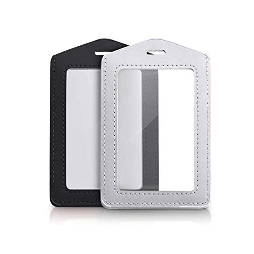 2 Pcs Vertical Leather ID Badge Holder Waterproof Clear Card Holder for School ID Office ID, Black and Silver Gray(Only Holder)
