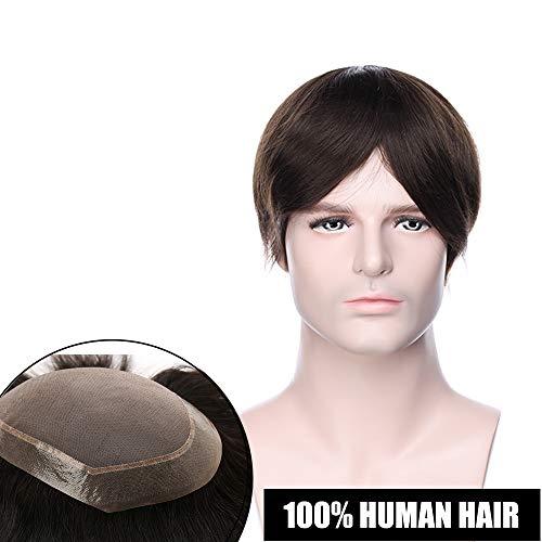Toupee Uomo Capelli Veri Extension Hair Topper Protesi Umani Mono Lace mix PU 15cm*20cm Toupet Indian Human Hair Lisci Parrucca Corta 120% Density 15cm Pesa 50g - #2 Marrone Scuro