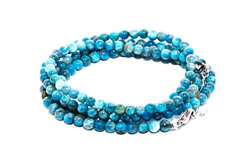 rainbow safety Pulsera 4 Hileras para Mujer Piedra Natural Amatista Ojo de Tigre Ágata Amazonita Jade Lapislázuli Perlas Coral BR (Apatita Azul)