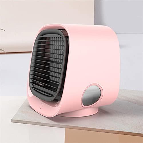Enfriador De Aire Portátil Mini Ventiladores Portátiles Aire Acondicionado Humidificador Multifunción Purificador Usb Escritorio Enfriador De Aire Ventilador Con Tanque De Agua Hogar 5V Rosa