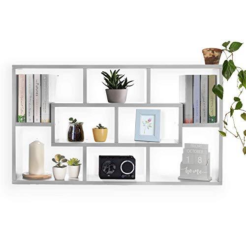 Estantería de almacenamiento flotante | Cubos de pared | 8 compartimentos | Caja del libro | Estantes para dormitorio y sala de estar | Debajo del estante de la TV | M&W (blanco)