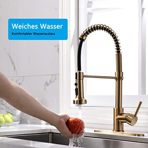 TIMACO Gebürstetes Gold Küchenarmatur mit 360° Drehbar, mit Pull-Down-Sprühgerät Armatur Mischbatterie, handelsüblicher Einhand-Küchenarmatur aus gebürstetem Gold Wasserhahn Küche