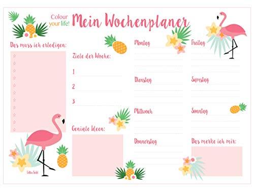 Edition Seidel Schreibtischunterlage Wochenplaner Papier zum Abreißen DIN A3 To Do Schreibunterlage 25 Blatt Papierunterlage Abrissblock Wochenplaner Schulsachen Schreibtisch Tischunterlage (Flamingo)