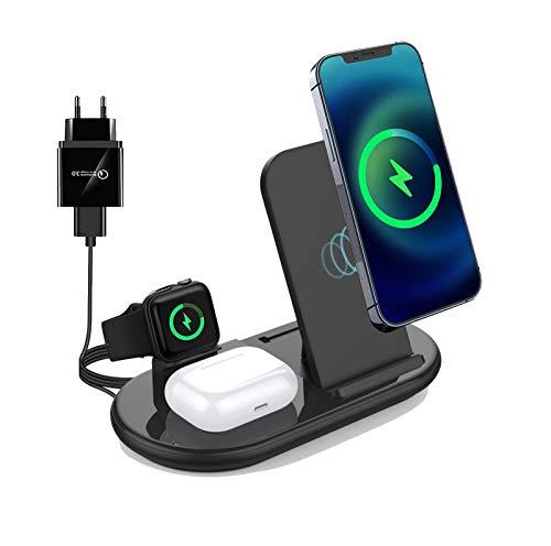 3 in 1 Caricatore Wireless, 10W Caricabatterie Senza Fili Compatibile con iPhone 11 12 Pro X XR XS 8 Samsung Galaxy S20 + S10 S9 e iWatch 6/5/4/3/2 Airpods 2/Pro