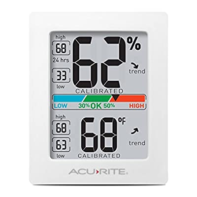 AcuRite Digital Hygrometer with Indoor Monitor and Comfort Scale (01083M) Room Thermometer Gauge with Temperature Humidity, 3 x 2.5 Inches