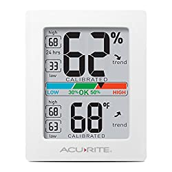 AcuRite Monitor for Greenhouse, Home or Office(3 x 2.5 Inches) Room Thermometer Gauge with Temperature Humidity, Digital Hygrometer Indoor