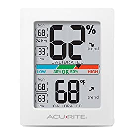 AcuRite Monitor for Greenhouse, Home or Office(3 x 2.5 Inches) Room Thermometer Gauge with Temperature Humidity, Digital Hygrometer Indoor 10 Air Comfort Indicator (Indicates Low, Ok, or High Humidity) Accurate High and Low Records -4° to 158°F; -20° to 70°F Degree Range with +/- 0. 5°F Accuracy