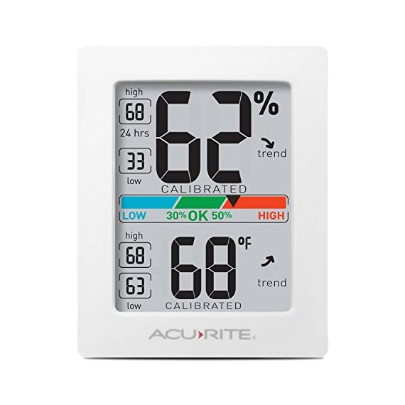 AcuRite Monitor for Greenhouse, Home or Office(3 x 2.5 Inches) Room Thermometer Gauge with Temperature Humidity, Digital… 1 Air Comfort Indicator (Indicates Low, Ok, or High Humidity) Accurate High and Low Records -4° to 158°F; -20° to 70°F Degree Range with +/- 0. 5°F Accuracy