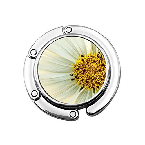 Flor Blanca y Amarilla Flores Naturaleza Macro Jardín Niñas Monedero Percha Bolsas Percha para Mesa Bolso Plegable Colgador de Mesa