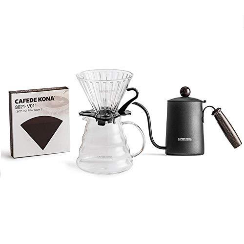 Gießen Sie über Kaffeemaschine 4Set, manuelle Hand Tropfglas Kaffeemaschine, Edelstahl Schwanenhals Teekessel mit Griff, V60 Tropfer, Filterpapiere, für Zuhause,360ml