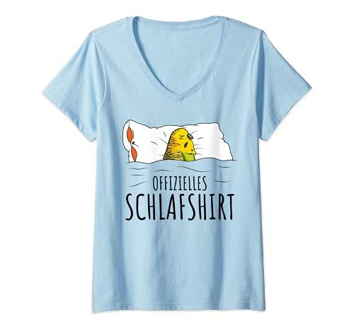 Damen Offizielles Schlafshirt Wellensittich Liebhaber Schlafen T-Shirt mit V-Ausschnitt