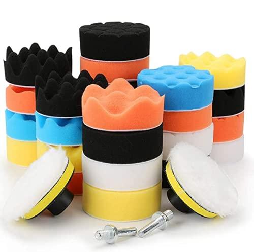 yidengukAlmohadilla de pulido para taladrar, 31 piezas de esponja para pulir el pulido de la cera y el kit de la máquina de pulir el coche, 2 adaptadores de taladro M10 para pulir, lijar, encerar