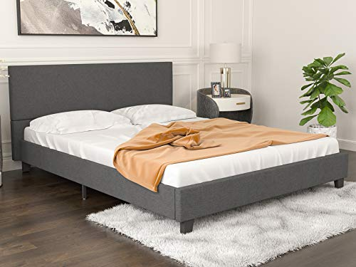 mecor Upholstered Linen Platform Bed Frame - Queen Bed Frames with Headboard and Wooden Slats Support - Fabric Low Profile Mattress Foundation - No Box Spring Needed - Dark Grey/Queen