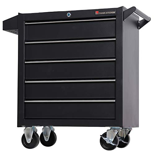 TANKSTORM Tool Chest Heavy Duty Cart Steel Rolling Tool Box 5 Drawer Cart (TZ35-BK)