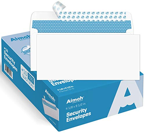 #10 Security SelfSeal Envelopes Windowless Design Premium Security Tint Pattern Ultra Strong QuickSeal Closure  EnveGuard  Size 41/8 x 91/2 Inches  White  24 LB  500 Count 34010