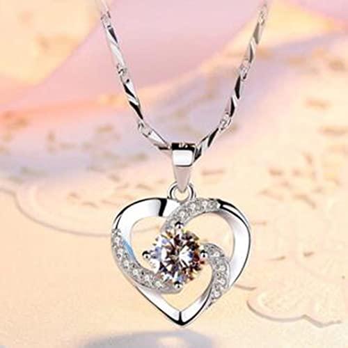 KUYT Collar con Colgante de Corazón, Amor Eterno Plata Collar Colgante Circonita en Forma de Corazón Collar Plata de Ley Cadena de Caja 45CM