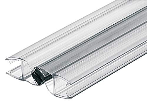Gedotec Magnet-Dichtung Tür-Glastürdichtung Duschtür-Dichtung für Duschkabinen 180°   Länge 2000 mm   PVC Transparent   Duschdichtung für Glasdicke 8-10 mm   1 Stück - Türdichtung mit Zuhaltung