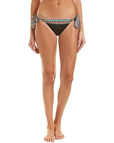 Nanette Lepore Women's Skimpy Side Tie Hipster Bikini Swimsuit Bottom, Black/Tribal Beat, X-Small