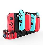 【一体型&ゲームカード収納】switch Joy-Con充電スタンド Switch OLED 対応 有機ELモテル対応 急速充電 ジョイコン 充電スタンド 収納 Joy-Con L/Rハンドル4台同時充電 Nintendo Switch対応 充電指示ランプ付き 充電ホルダー