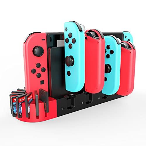 【一体型&ゲームカード収納】switch Joy-Con充電スタンド 急速充電 ジョイコン 充電スタンド 収納 Joy-Con L/Rハンドル4台同時充電 Nintendo Switch対応 充電指示ランプ付き 充電ホルダー