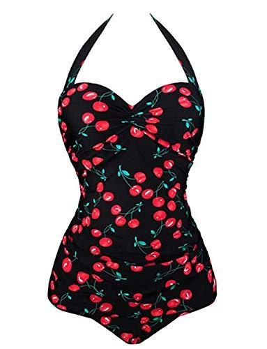 DELEY Traje De Baño De Una Pieza para Mujer Push Up Monokini Bikini con Estampado De Cereza Retro Multicolor Tamaño XL