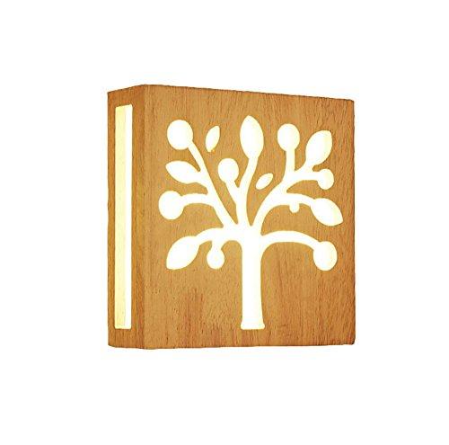 Pouluuo Applique en bois massif salon minimaliste moderne a conduit chambre lampe de chevet applique murale/segment de trois couleurs