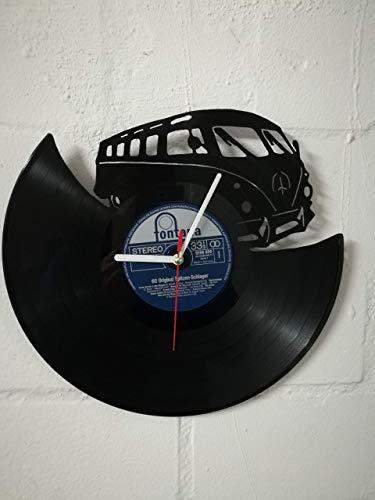 Wanduhr aus Vinyl Schallplattenuhr mit Bulli Motiv upcycling design Uhr Wand-deko vintage-Uhr Wand-Dekoration retro-Uhr