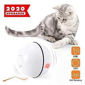 Yidaxing Bola de Gato, Juguetes para Gatos Pelotas, Carga USB Bola Giratoria Automática, Bola Eléctrica de 360 Grados con Luz LED Juguete Interactivo para Animal Doméstico Gatos(Blanco) 4