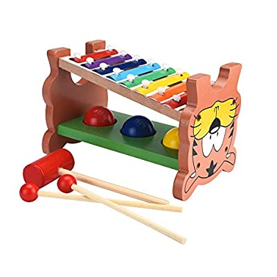 Wooden Toys for Toddlers, ASfairy Wooden Hammering & Pounding Toys + 8 Notes Xylophone + Shape Color Recognition