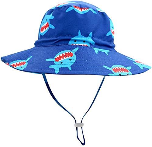 Gemvie - Gorro de verano para bebé, diseño de dinosaurio, ala ancha, sombrero de playa con correa para la barbilla Negro tiburón 2-4 Años