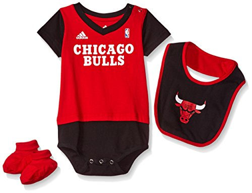 NBA Infant Chicago Bulls Lil Jersey Creeper, Bib and Bootie-Red-24 Months