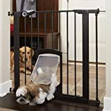 MYPET North States 38' Wide Pet Gate Passage: Secure gate with small lockable doggy door. Pressure Mount. Fits 29.8' - 38' Wide (30' Tall), Matte Bronze (5264S)