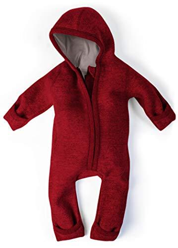 Ehrenkind® WALKOVERALL | Baby Wollwalk-Overalls aus Natur Schurwolle mit Reißverschluss | Walk Wolle Woll-Anzug für Kleinkind und Baby | Rot Gr. 74/80