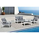 Soleil Jardin 4-Piece Aluminum Outdoor Patio Furniture, Patio Conversation Sofa Set with Removable Cushions, Tempered Glass Top Coffee Table, White Finish & Grey Cushion