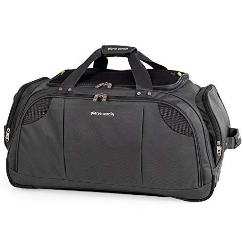 Lightweight Medium Holdall with Wheels - Weekend Roller Bag by Pierre Cardin | Durable Stress Tested Skate Wheels | Carry, Grab, Pull or Drag Trolley Handle | 78L Capacity CL769 (Medium Grey 26')