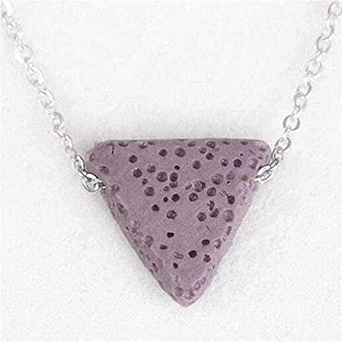 TTDAltd Collar Piedra de Lava Natural Collares Pendientes Triángulo Negro Difusor de aceites Esenciales Collar Vulkangestin Colgante Collar Mujer (Color del Metal: Verde Claro) Violeta