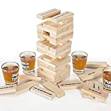 Rcherish Town Tower Juego de Bebidas, Juego de Bebidas con 4 Gafas y 60 Bloques...