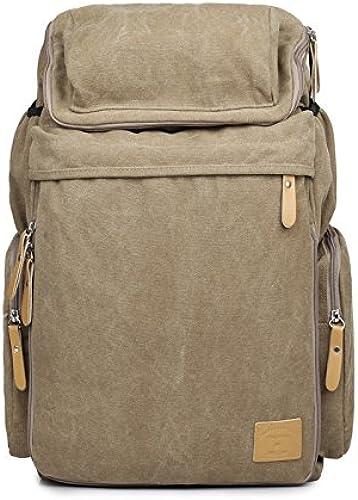 Canvas Double Shoulder Bag Damen casual vintage Outdoor Sport Rucksack Reisen Größe Kapazit computer Schultasche, khaki