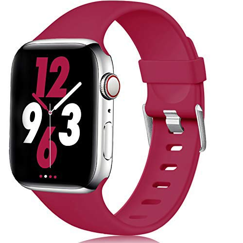 Laffav Band Compatible with Apple Watch 40mm 38mm, Soft Replacement Sport Bands for iWatch Series 5 4 3 2 1, Rose Red, M/L