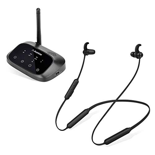 Avantree Oasis Plus & NB16, Bundle - Bluetooth Transmitter w/ Bypass & Wireless Neckband Earphones for TV, Built-in Volume Control w/ Mic, Digital Optical 3.5mm AUX RCA, Low Latency, 20Hr Playtime