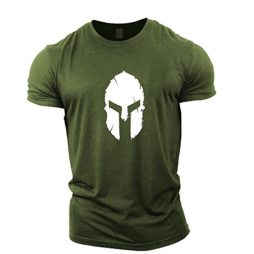 GYMTIER Mens Bodybuilding T-Shirt - Spartan Helmet - Gym Training Top Green